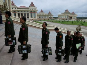 Men in green arrive at parliament