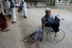 A rescued Rohingya recuperating at the Thai mosque